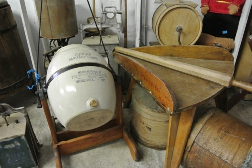 Beautiful selection of vintage equipment and tools for making cheese.